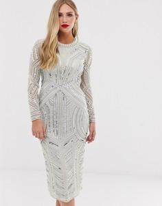 Облегающее платье миди с пайетками и искусственным жемчугом ASOS EDITION-Серый
