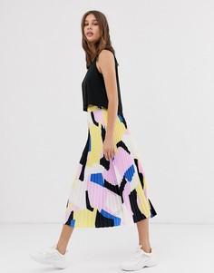 Плиссированная юбка миди с абстрактным принтом Selected Femme-Мульти