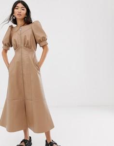 Платье миди из искусственной кожи с пышными рукавами и молнией ASOS DESIGN-Бежевый