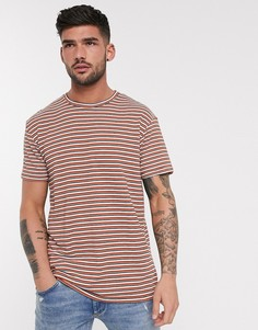 Оранжевая футболка в полоску Bershka-Мульти