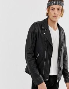 Черная кожаная байкерская куртка AllSaints-Черный