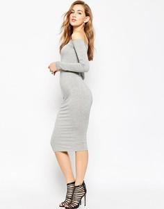 Облегающее платье миди с открытыми плечами и длинными рукавами ASOS-Серый