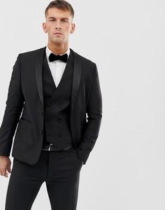 Черный приталенный пиджак-смокинг из 100% шерсти ASOS DESIGN