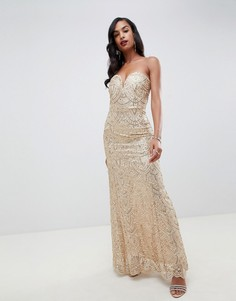 Золотистое платье-бандо макси с узором с пайетками TFNC-Золотой