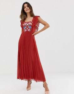 Приталенное платье миди с квадратным вырезом и вышивкой ASOS DESIGN-Красный