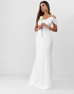 Белое платье макси с открытыми плечами и годе Missguided-Белый