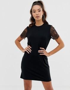 Платье-футболка с кружевными рукавами ASOS DESIGN-Черный
