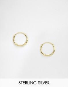 Покрытые 14-каратным золотом серебряные серьги-кольца 12 мм ASOS DESIGN-Золотой