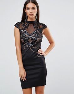 Платье с высокой горловиной и вырезным рисунком Lipsy-Черный
