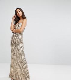Платье-бандо макси с пайетками TFNC-Золотой