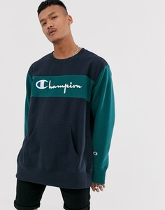 Свитшот в стиле колор блок Champion Reverse Weave-Темно-синий