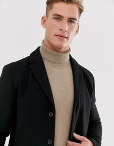 Пальто из переработанной шерсти Selected Homme-Черный