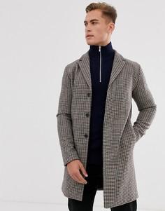 Пальто из переработанной шерсти в клетку Selected Homme-Бежевый