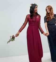 Бордовое платье макси с кружевом TFNC bridesmaid-Красный