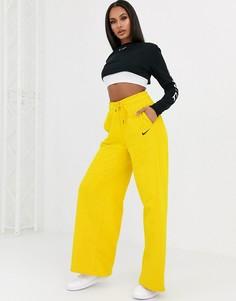 Желтые джоггеры с завышенной талией и широкими штанинами Nike-Белый