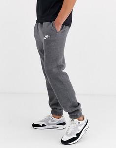 Серые повседневные джоггеры с кромкой манжетом Nike - Club-Серый