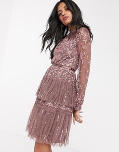 Ярусное платье мини винного цвета с полупрозрачными рукавами и вышивкой Needle & Thread-Фиолетовый