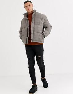 Бежевая дутая куртка в клетку New Look-Бежевый