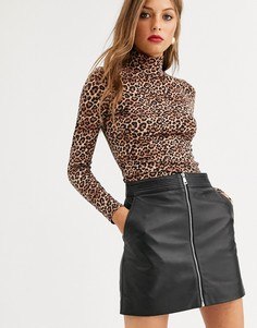 Мини-юбка на молнии Lab Leather-Черный