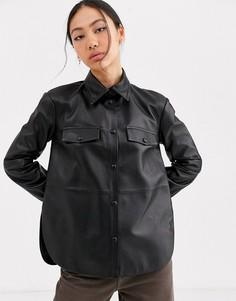 Кожаная рубашка ASOS WHITE-Черный