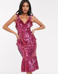 Платье миди с пайетками и оборками Needle & Thread-Красный