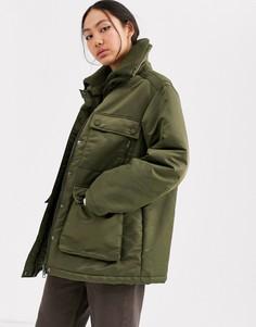 Короткое дутое пальто ASOS WHITE-Зеленый