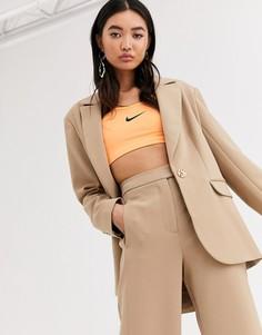 Саржевый пиджак с застежкой на одну пуговицу ASOS WHITE-Коричневый