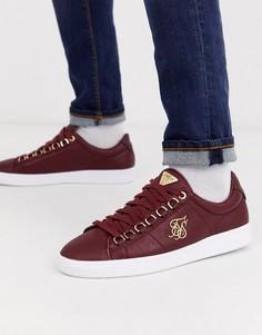 Бордовые кроссовки с золотистым логотипом SikSilk-Красный