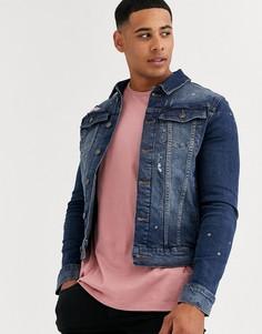Синяя джинсовая куртка River Island-Синий