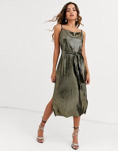 Платье металлик без рукавов с поясом Y.A.S-Черный