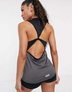 Майка со вставками и вырезом на спине ASOS 4505-Черный