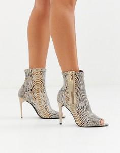 Туфли на каблуке-шпильке со змеиным рисунком и открытым носком Truffle Collection-Мульти