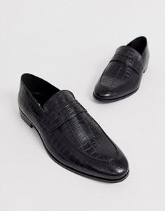 Черные кожаные лоферы с крокодиловым рисунком Dune-Черный