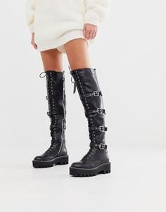 Черные сапоги-ботфорты со шнуровкой Lamoda-Черный