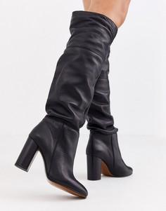 Черные кожаные свободные сапоги до колен Depp-Черный