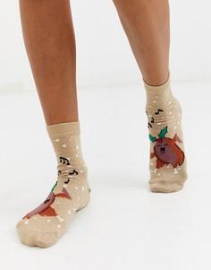 Новогодние носки с блестками и принтом танцующей индюшки ASOS DESIGN-Золотой