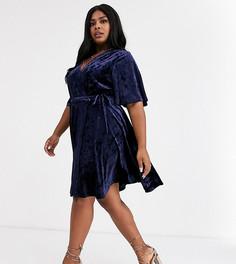 Бархатное платье с запахом и поясом Glamorous Curve-Темно-синий