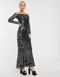 Платье-бандо макси с отделкой темно-серыми пайетками Goddiva-Черный