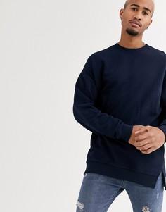 Темно-синий oversize-свитшот с разрезами по бокам ASOS DESIGN
