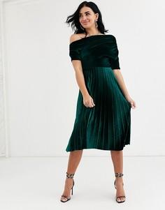 Бархатное платье миди со сборками на плечах ASOS DESIGN-Зеленый
