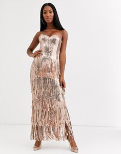 Платье макси с бахромой по краю и пайетками цвета розового золота Goddiva-Золотой
