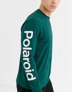 Свободный лонгслив с принтом ASOS DESIGN Polaroid-Зеленый