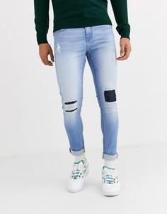 Голубые потертые облегающие джинсы Criminal Damage-Синий