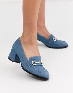 Джинсовые лоферы на среднем каблуке ASOS DESIGN-Синий