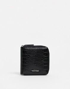 Черный кошелек на молнии с рисунком крокодиловой кожи Dune - Noah