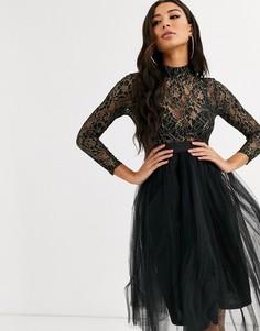 Платье из тюля с пайетками Rare London-Черный