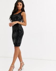 Бархатное платье миди с квадратным вырезом Rare London-Черный