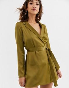 Атласное платье-смокинг мини с поясом ASOS DESIGN-Зеленый