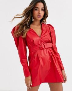 Кожаное платье с поясом Ronny Kobo giulia-Красный