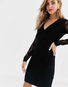 Черное платье-футляр с запахом и кружевом Morgan-Черный